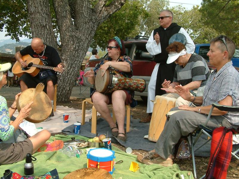 Many evacuees are remarkably upbeat --- some brought out drums and a guitar for an impromptu jam.