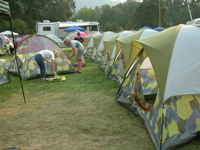Tents sprang up at the Napa County Fairgrounds in Calistoga on Sunday as hundreds of evacuees fled the Valley Fire.