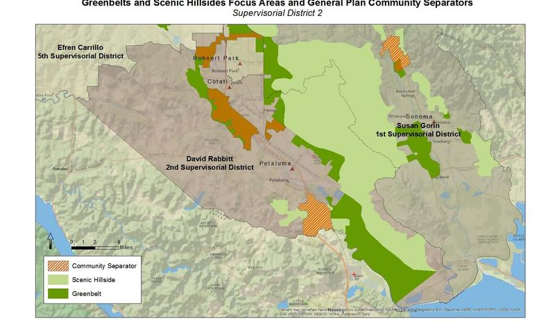 A map of proposed expanded community separator lands in the sourthern portion of Sonoma County