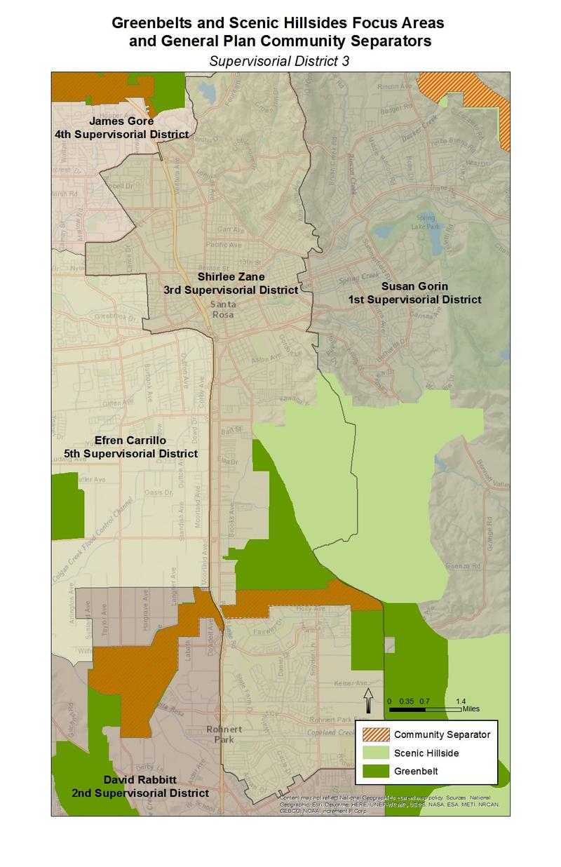 A map of proposed expanded community separator lands in the Santa Rosa-Rhonert Park area