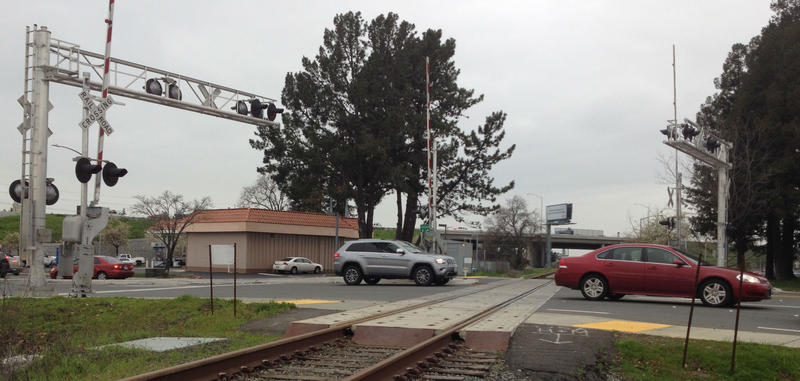 Railroad crossings at Intersections such as this one in Rohnert Park, will soon have to adjust to regularly passing SMART trains.