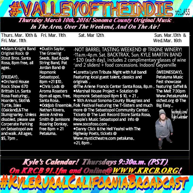 Kyle's Calendar - March 10-16, 2016