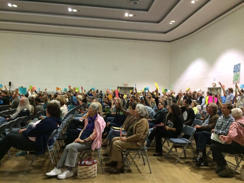 Community members filled the auditorium of the Veteran's Memorial Building to protest the fee.