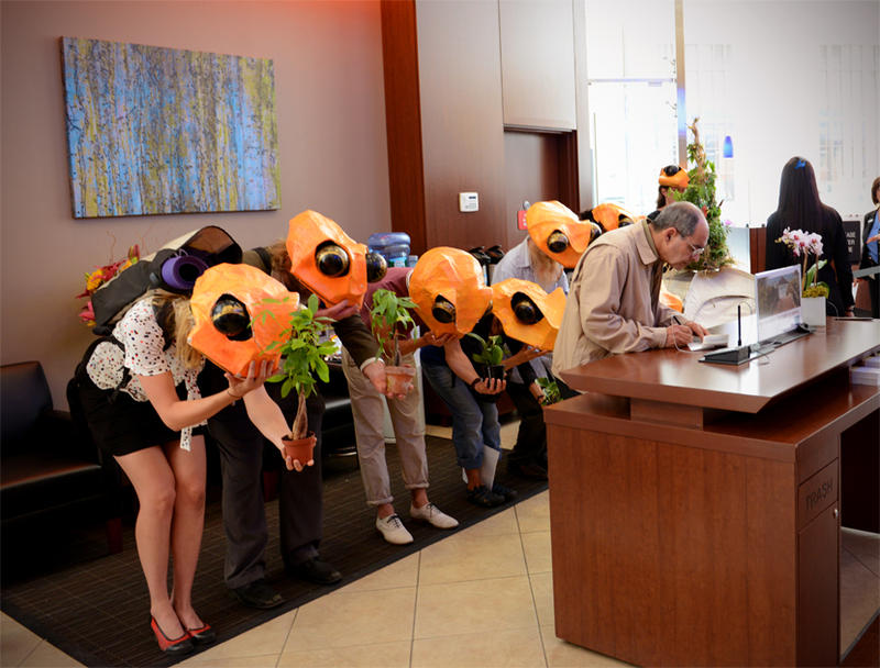 Wearing coloful masks to personify the  extinct Golden Toads of Central American, activist members of the Stop Shopping Choir invade a bank lobby to impart their message.