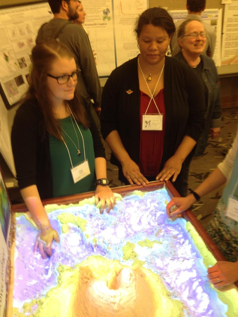 """Betsy Smith (left) and Julia Freeman headed the team that developed their """"augmented reality 3-D sandbox"""" project."""