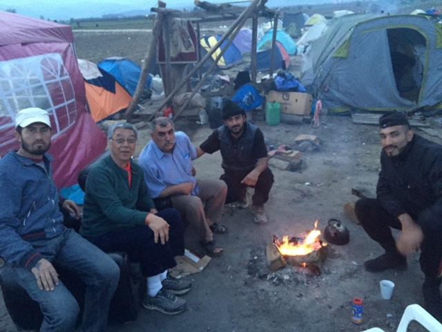 Sharing personal time witih a small group of refugees around a campfire became some of John Namkung's most meaningful  memories from his volunteer stint in Greece.
