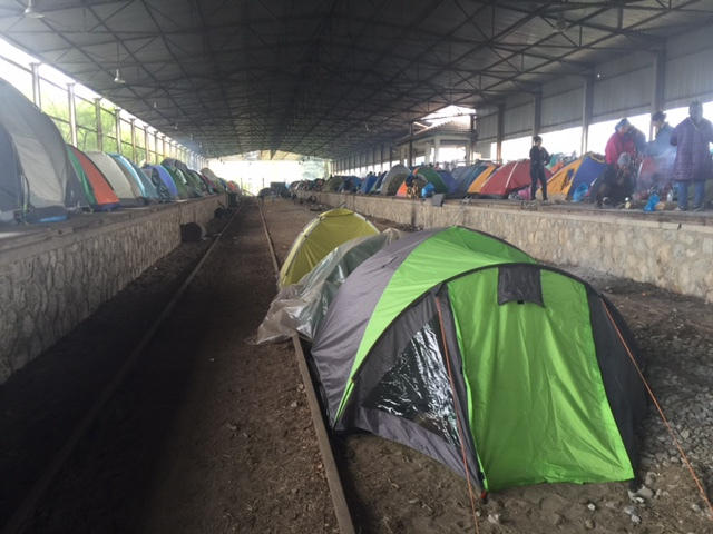 EVen an abandoned railroad station provided shelter for refugee families in the camp at  Idomeni.