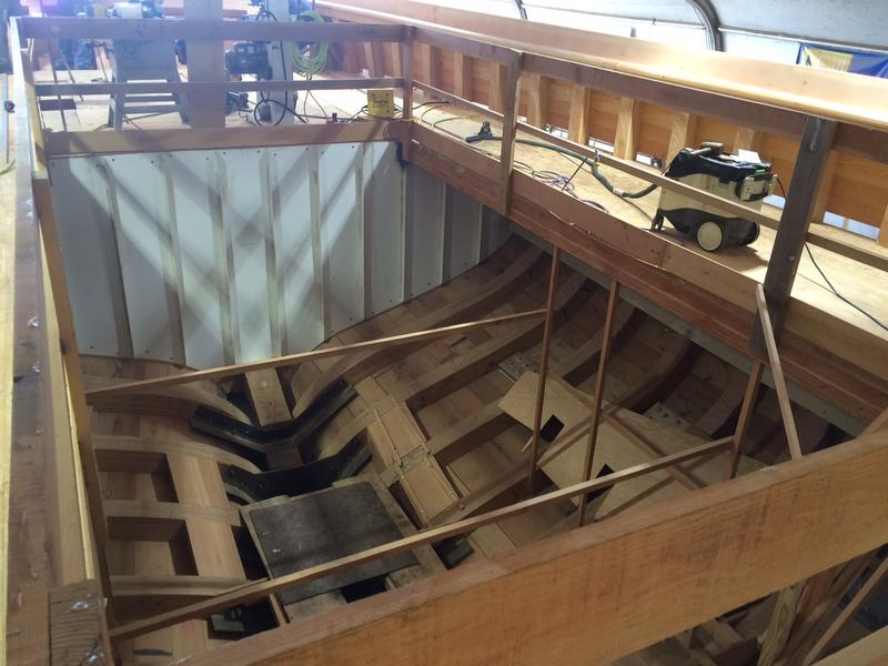 Volunteers and staff have structurally finished the tall ship. The propulsion room is waiting to get its electric system installed.