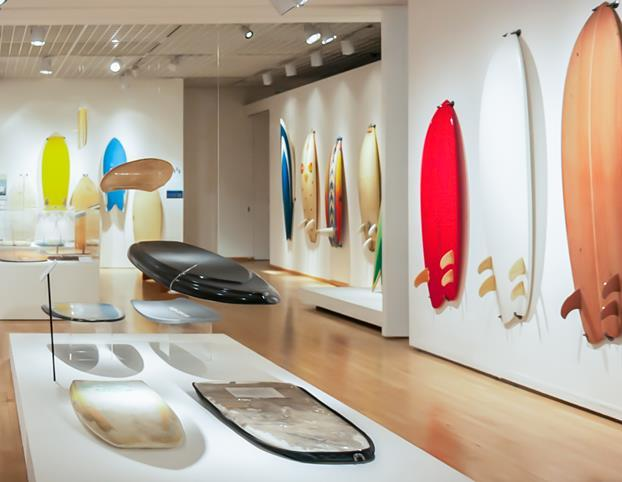A history of surfboards on display.