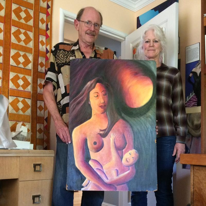 McBag curators Jeff Olson and Kathy Limberg with a yet to be named piece of bad art.