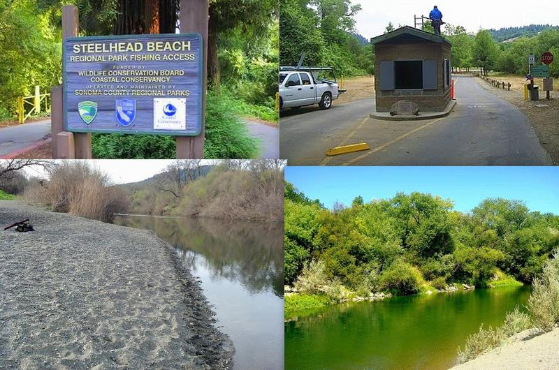 Four views of Steelhead Beach Regional Park, a former gravel mining site where the Russian River Descent kayakers have paused until their journey resumes Oct. 7