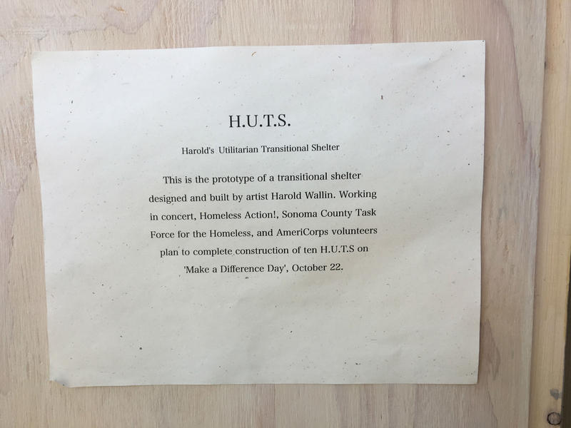 Harold Wallin defined his concept in this notice, tacked inside of the door to his prototype mini-shelter.