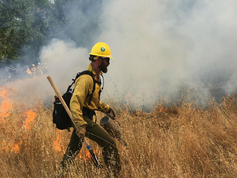 Paul Beisner, a specialist from the Golden Gate National Recreation Area's fire crew, led the way in getting the controlled burn started.