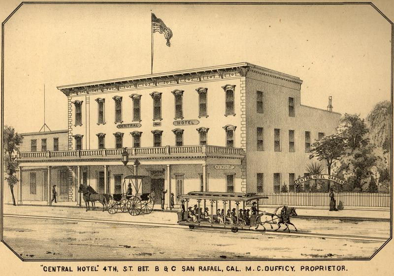 San Rafael's Central Hotel with a trolley depiction.