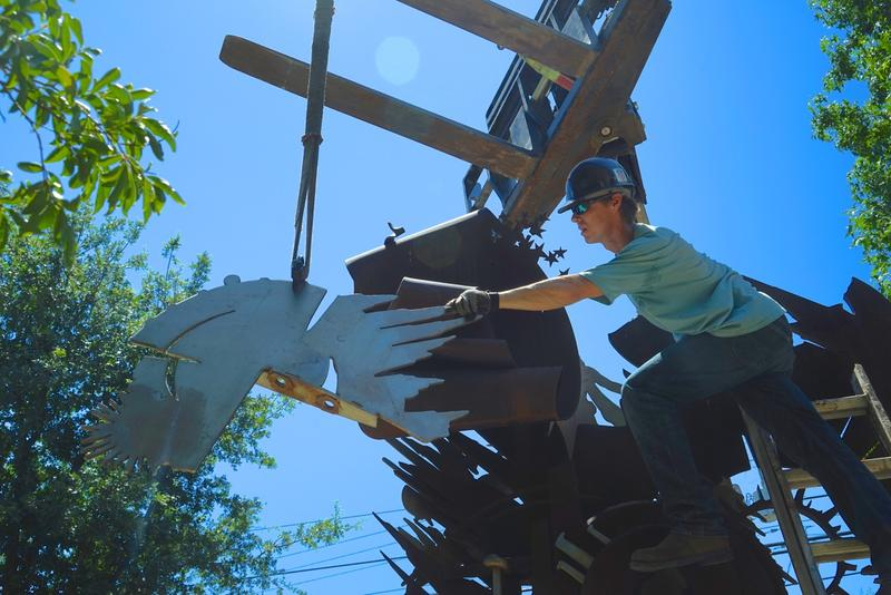 Up in the air, installing Albert Paley's sculpture in Sonoma.