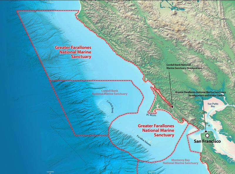 Map of National Marine Sanctuaries off North Bay coast.