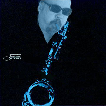 Doug and a saxophone, in blue