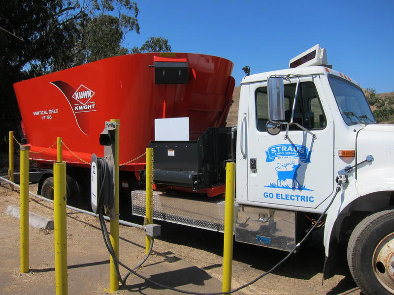 The electric feed truck is powered by the cows it feeds everyday.