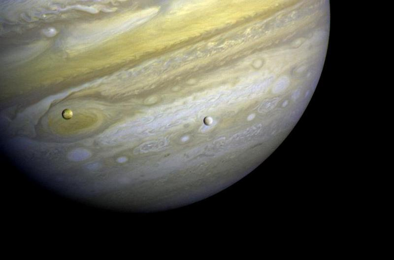 Jupiter, with satellites Io and Europa