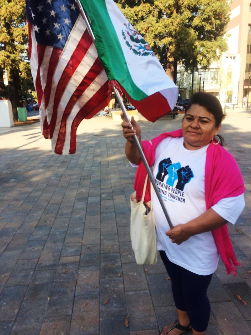 Woman waving flags