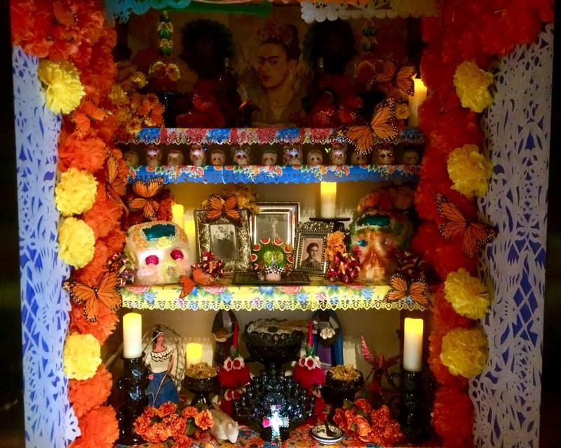 This ofrenda, or altar, celebrates the life of Mexican artist Frida Kahlo.