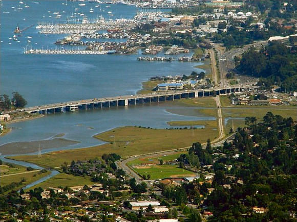 Marin County's Richardson Bay is an area prone to flooding from sea level rise caused by global warming.