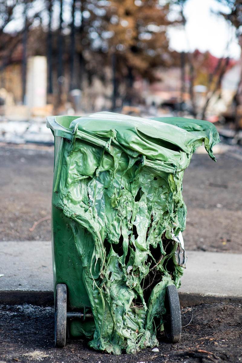 Melted recycling can in Santa Rosa