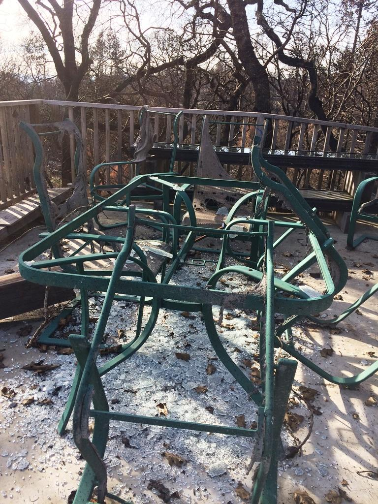 Burned patio furniture