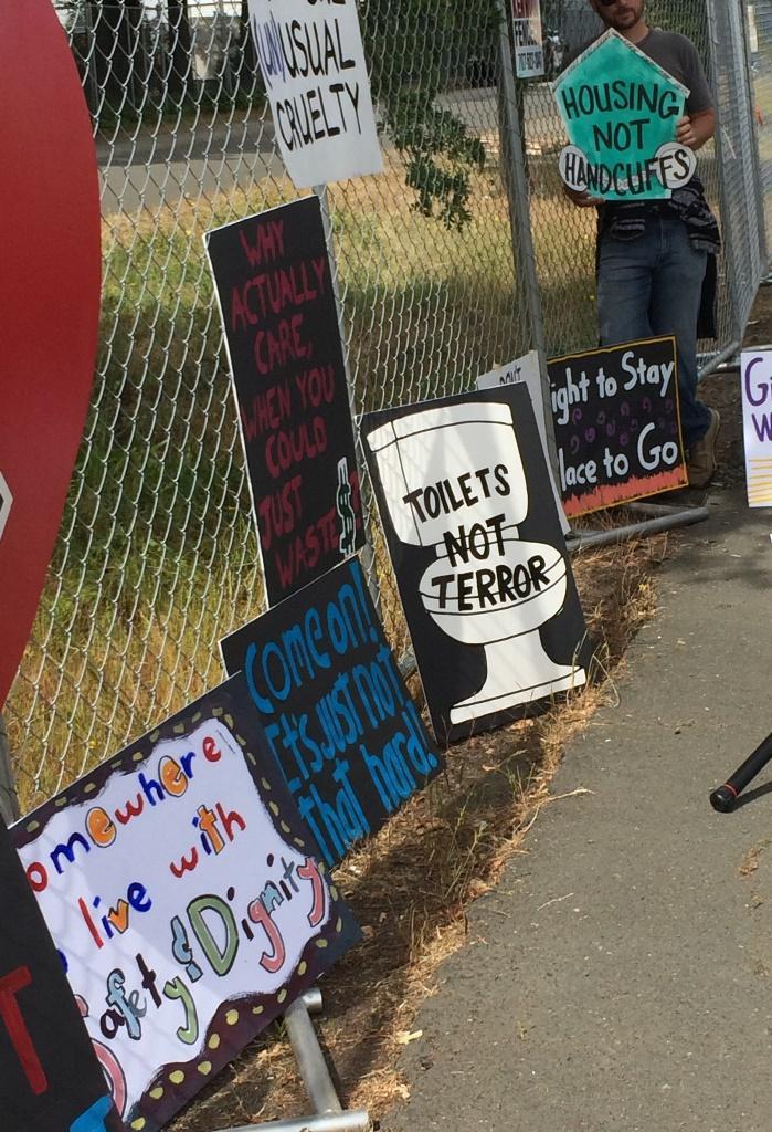 Signs on Joe Rodota trail