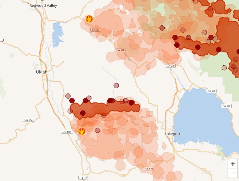 Mendocino Complex fires August 2, 2018