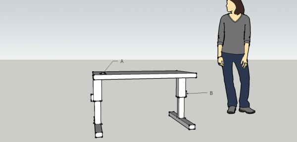A sketch of the Calistoga student's adjustable table.