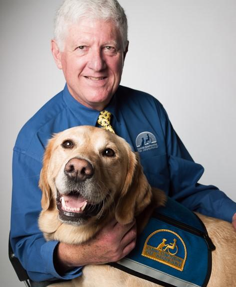 Randy Wight and Service Dog Neo (Photo Courtesy of KRCB)