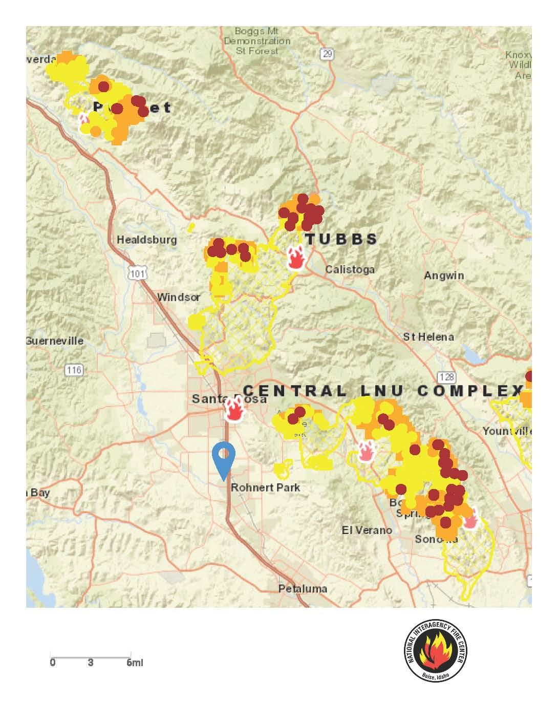 Current map view of Sonoma County Fires | KRCB