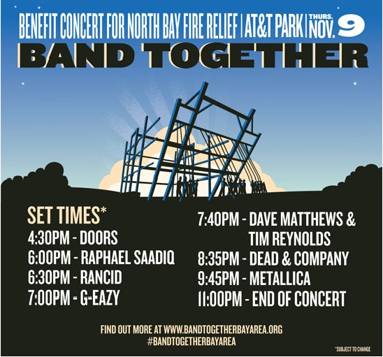 Benefit Concert for Wildfire Relief at AT&T Park