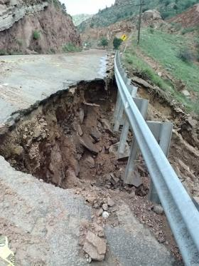 Road damage on closed section of Manitou Ave., western side of town.
