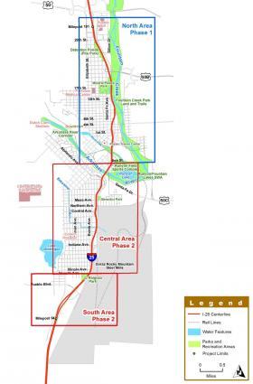 Map of the planned I-25 project, known as the New Pueblo Freeway, from the Introduction in the New Pueblo Freeway Final Environmental Impact Statement. Available at i25pueblo.com.