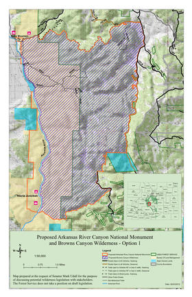 Proposed boundary for the national monument and wilderness area.