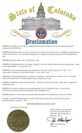 Governor Hickenlooper's proclamation designating 14ers as Broncos for Super Bowl Sunday
