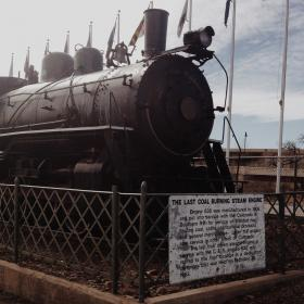 An old freight engine that hauled coal, among other goods, now on display in Trinidad