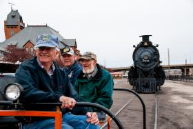 Pueblo Railway Foundation volunteers Mike Walker, Dwight Maxey and Chris Fox