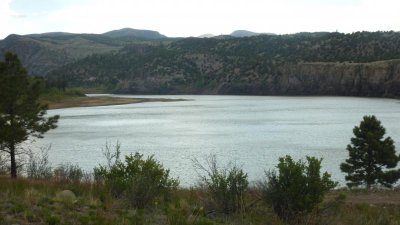 The Terrace Reservior in the San Luis Valley provides irrigation water for farms downstream. It had a 2000 acre-foot restriction imposed by the state because of an aging spillway.