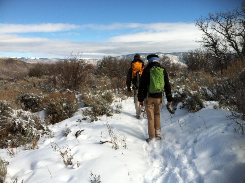 Scientists hike snowy trails to reach one of two soil moisture towers located on Pitkin County Open Space properties.