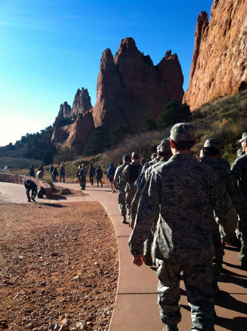Cadets walk toward the work site
