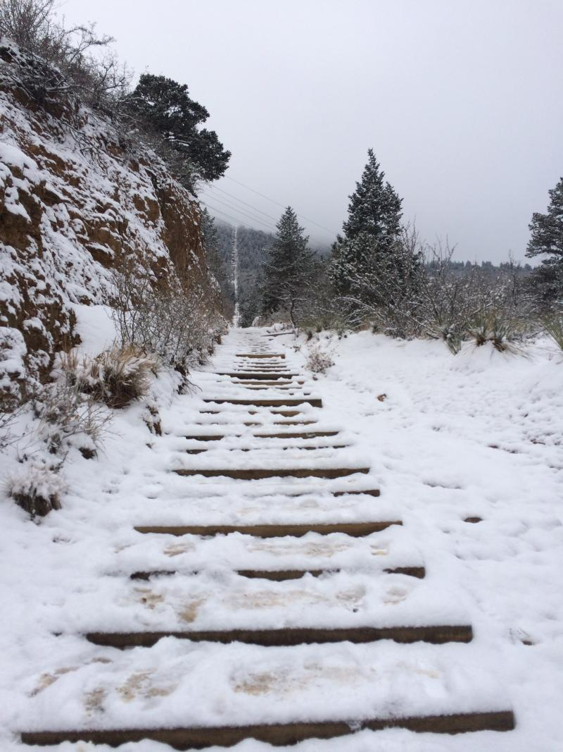 The Manitou Incline in the snow