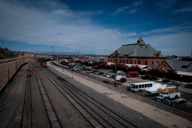Freight traffic pulls up alongside Union Depot in Pueblo