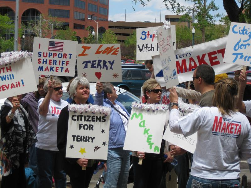 Supporters of Sheriff Terry Maketa held a counter-rally
