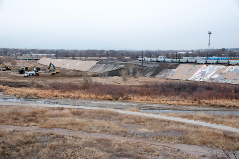 Work on the Arkansas River levee began in December.