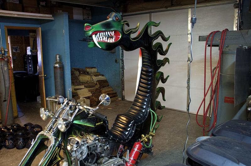 The second of two Dragonman custom motorcycles