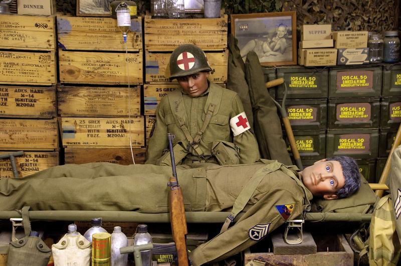 Mannequins in the machine gun bunker