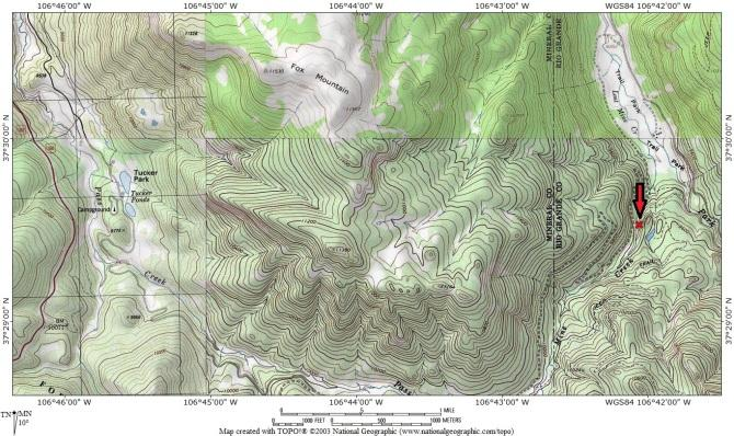 This topographical map indicates the location of the Feb. 2, 2016 avalanche fatality.